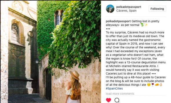 Comentario publicado por Nicola Easterby en su cuenta de Instagram durante la visita a Cáceres